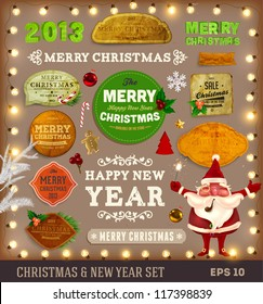 Set of vector Christmas ribbons, vintage new year labels. Elements for Xmas design: santa, balls, sweet, mistletoe, fur-tree branches, snowman with gift, Gingerbread Man and old paper texture labels.