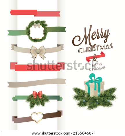 set of vector christmas ribbons and vintage new year labels christmas vector element