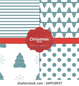Set of vector christmas seamless patterns for xmas cards and gift wrapping paper.Vintage Christmas elements