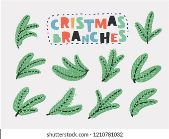 Set vector Christmas tree branch for decorate . Easy to make your own one.