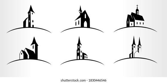 set of Vector Church logo emblems