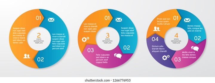 Set of vector circle arrows for infographics. Template for cycle diagram, options, graph, web design, presentation and round chart. Business concept with 4 steps. Abstract background. Vector design.