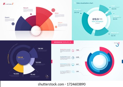 Set of vector circle chart designs, modern templates for creating infographics, presentations, reports, visualizations.