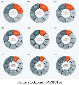 Set of vector circle chart infographic templates with 4-12 options for presentations, advertising, layouts, annual reports.