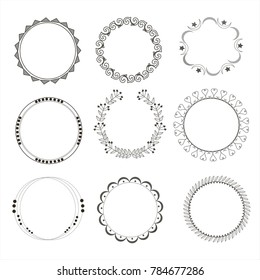 Set of vector circle frames. Wreaths for logo, template and design.