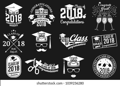 Set of Vector Class of 2018 badges. Concept for shirt, print, seal, overlay or stamp, greeting, invitation card. Typography design- stock vector.