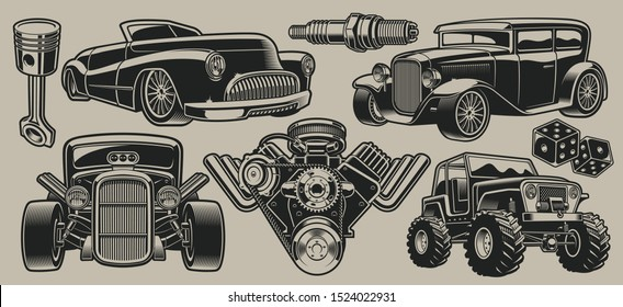 Set of vector classic cars and parts illustrations in vintage style
