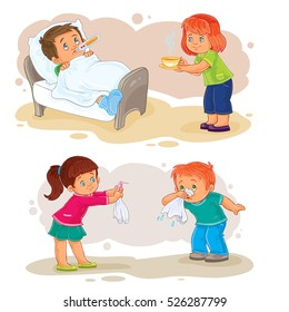 Set of vector clip art illustrations little boy sick and compassionate girl.
