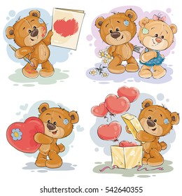 Set vector clip art illustrations of teddy bears