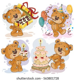 Set of vector clip art illustrations of teddy bear wishes you a happy birthday