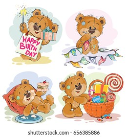 Set of vector clip art illustrations of brown teddy bear wishes you a happy birthday. Print, template, design element for greeting cards