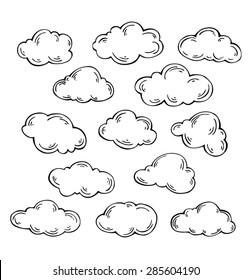 Set of vector clouds on white background