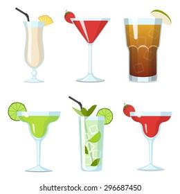 Set of Vector Cocktails in Glasses