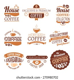 Set of Vector Coffee Elements. Logo template. Corporate icon. Brand visualization. Eco, bio, organic, natural coffee concept.