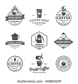 Set of vector coffee shop logo. Mugs, beans and coffee equipment icons