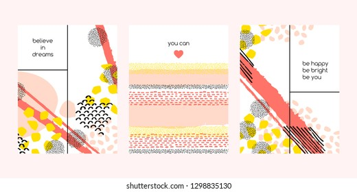 Set of vector collage template. Hand-drawn felt-tip textures. Trend colors. Ideal for printing labels, posters, postcards, covers and packaging.