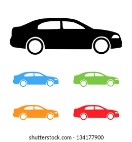 Set of vector color cars silhouettes