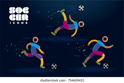 Set of vector color line soccer icons