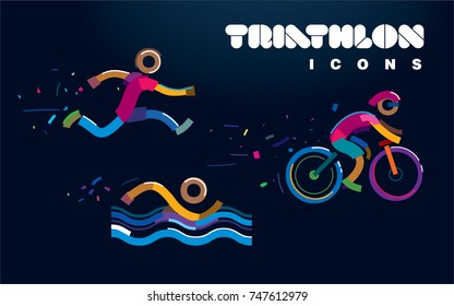 Set of vector color line triathlon icons