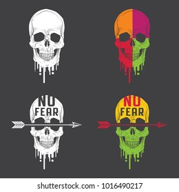 Set of vector color and monochrome emblems with skull, arrow and inscription – No fear.