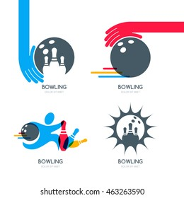 Set of vector colorful bowling logo, icons and symbol. Bowling ball, bowling pins and shoes illustration.