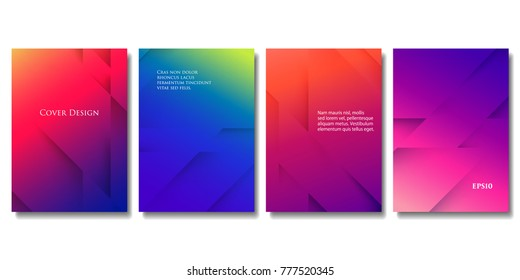 Set of Vector Colorful Brochure Templates. Abstract Three Dimensional Texture with Gradient Effect. Applicable for Web Background, Banners, Posters and Fliers. EPS 10 Vector.