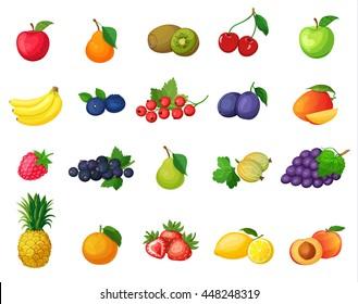 Set of vector colorful cartoon fruit icons: banana, apple, pear, kiwi, cherries, blueberries, currants, plums, mangoes, raspberries, gooseberries, grapes, pineapple, orange.