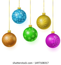 set of vector colorful glass christmas tree balls hanging on gold eyelets. 3D illustration.