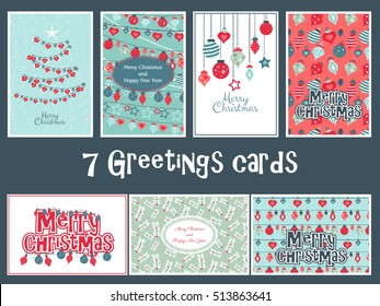 Set of vector colorful greetings cards for Merry Christmas with balls, tree, flower, garlands, text