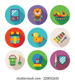 Set of vector colorful kids toys icons in flat style like portable game teddy bear excavator duck gift bucket snow globe sword shield and xylophone