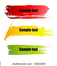 Set of vector colorful paint grunge banners.