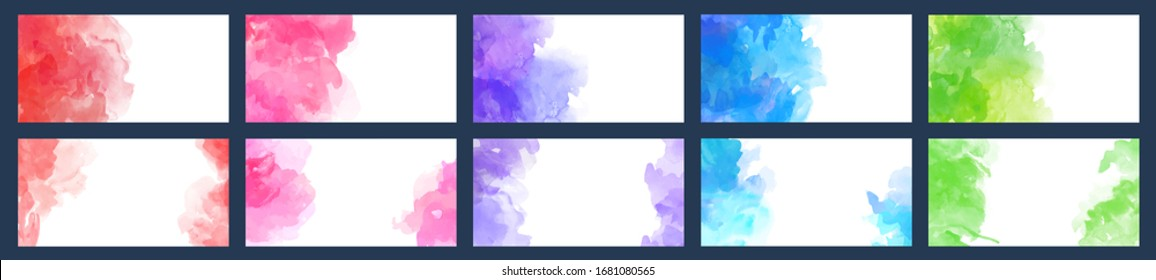 Set of vector colorful watercolor backgrounds for business card, brochure or flyer