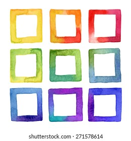 Set of vector colorful watercolor squares for your design. Watercolor design elements isolated on white background.