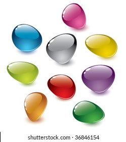 set of vector colorfull abstract glass stones