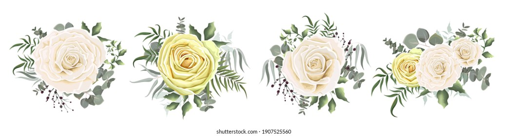 Set of vector compositions from flowers. Pink and yellow delicate roses, Asian buttercup. Flowers and plants on a white background.