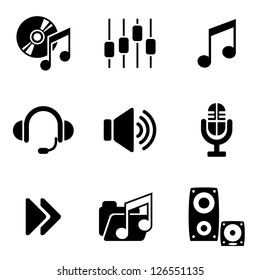 set vector computer icons of audio and music