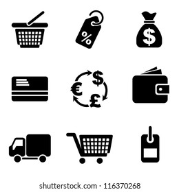 set vector computer icons of commerce and retail