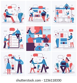 Set of vector concept illustration backgrounds of Start Up, Digital Marketing, Mobile advertising, Big Idea and Team Work in flat style