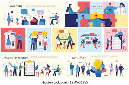 Set of vector concept illustration backgrounds of Co working, Project management, Mobile advertising,Online review and Team Work in flat style