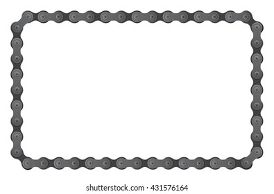 set of vector connected bicycle chain pieces composite to angular frame