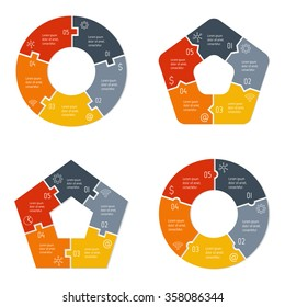 Set of vector connected puzzle infographic diagrams. Circular charts with 5 options. Paper progress steps for tutorial. Business concept sequence banners. EPS10 workflow layout collection.