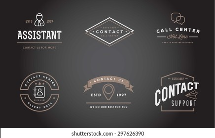 Set of Vector Contact Us Support Icons and Assistance can be used as Logo or Icon in premium quality
