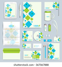 Set of vector corporate identity template. Modern business stationery mock-up. Branding design with blue and green square shapes.