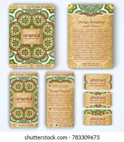 Set of vector corporate identity template with floral mandala pattern and ornaments. Luxury yellow oriental layout for brochure, flyer, booklet, invitation, business cards