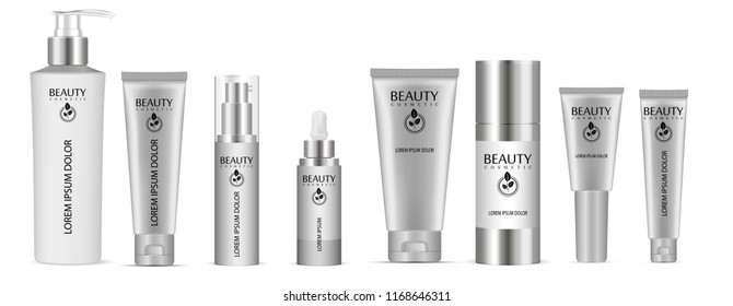 Set of vector cosmetic bottle blank templates, plastic containers: bottles with spray, dispenser and dropper, cream tube. Realistic 3d mock-up of cosmetics package.