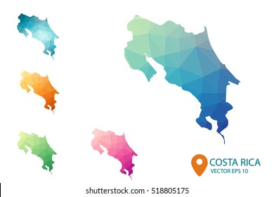 Costa rica map images stock photos vectors shutterstock set of vector costa rica maps bright gradient map of country in low poly style gumiabroncs Images