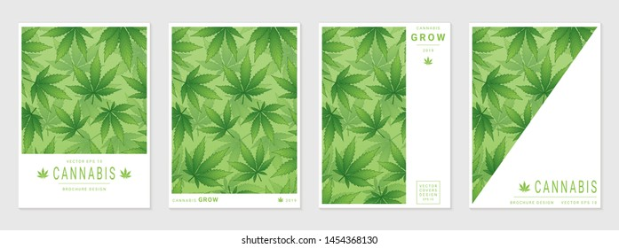 Set of vector cover templates with cannabis leaves for business, advertising, exhibition, party and etc.