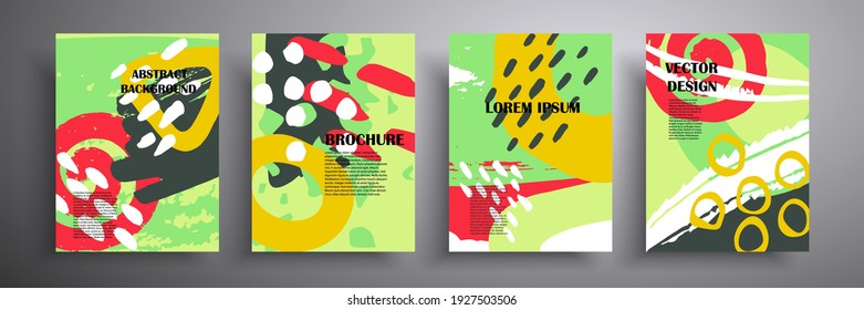 Set of vector covers. Abstract shapes. Colored geometric composition. Template for brochures, covers, notebooks, banners, magazines and flyers, modern website template design