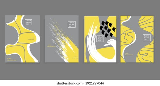 Set of vector covers of four minimalistic hand-drawn illustrations of abstract shapes in gray and yellow. Trendy colors of 2021
