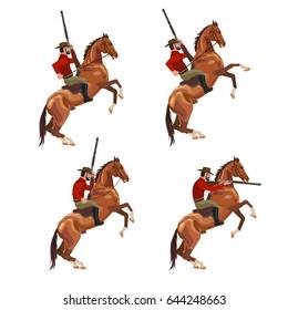 Set of vector cowboy riding horse with gun